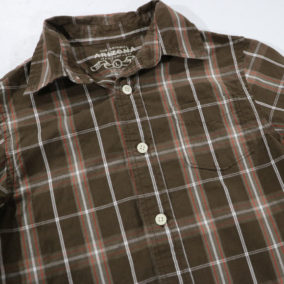 Arizona Other - Brown Button Up Long Sleeve Boys Shirt L